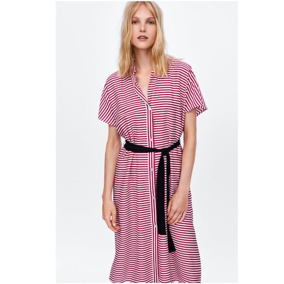 793fdf3ac5 NWT Zara Red White Striped Dress